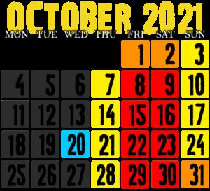 Event calendar for Dead Man's Farm Haunted House